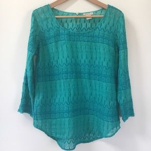LUCKY BRAND Embroidered Sheer Indian Top Blouse M